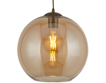 Searchlight Balls 1 Light Round Pendant Light, Antique Brass Finish With Amber Glass - 1621AM