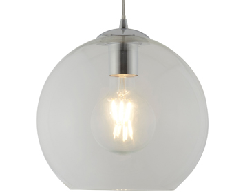 Searchlight Balls 1 Light Round Pendant Light, Chrome Finish With Clear Glass - 1621CL