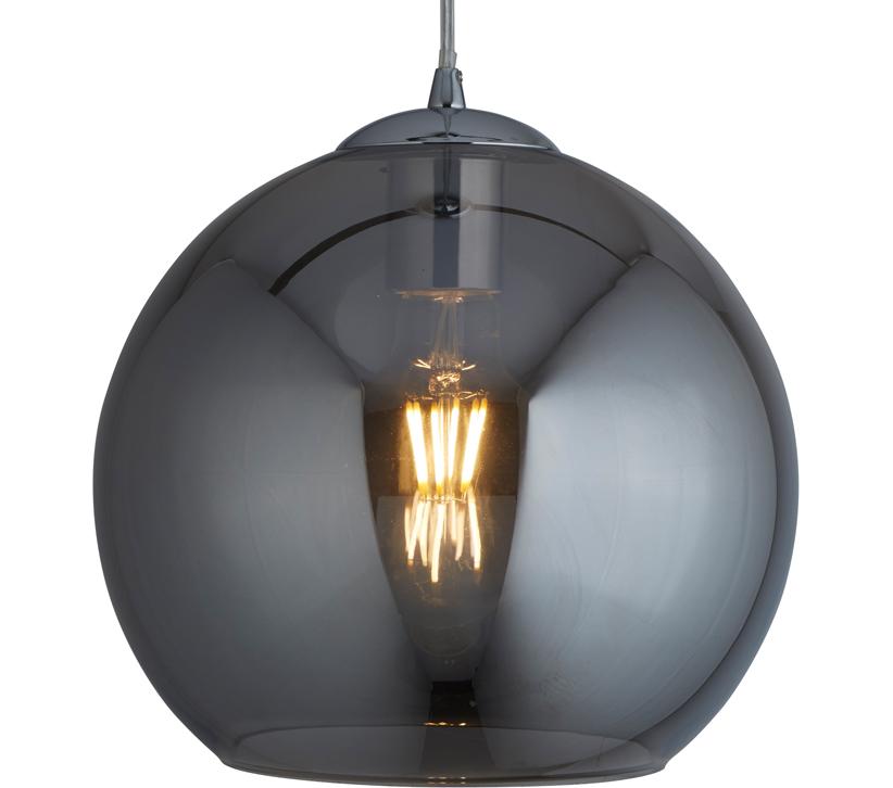 d40e36289666 Searchlight Balls 1 Light Round Pendant Light, Smoked Glass With Chrome  Finish - 1621SM