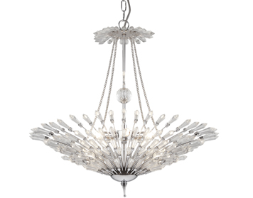 Searchlight Fan 6 Light Pendant Ceiling Light, Chrome Finish With Clear Glass Trim - 1626-6CC