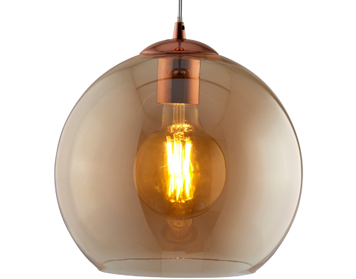 Searchlight Balls 1 Light Round Pendant Light, Antique Brass Finish With Amber Glass - 1632AM