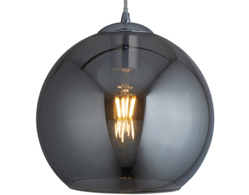Searchlight Balls 1 Light Round Pendant Light, Chrome Finish With Smoked Glass - 1632SM