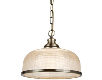 Searchlight Bistro II 1 Light Pendant Light, Antique Brass Finish With Halophane Glass Shade - 1682AB