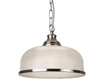 Searchlight Bistro II 1 Light Pendant Light, Satin Silver Finish With Halophane Glass Shade - 1682SS