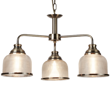 contemporary ceiling lighting. Searchlight Bistro II 3 Light Ceiling Light, Antique Brass Finish With Halophane Glass Shade - Contemporary Lighting M