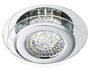 Searchlight Vesta Flush LED Ceiling Light, Chrome Finish With Crystal Decoration - 1692CC
