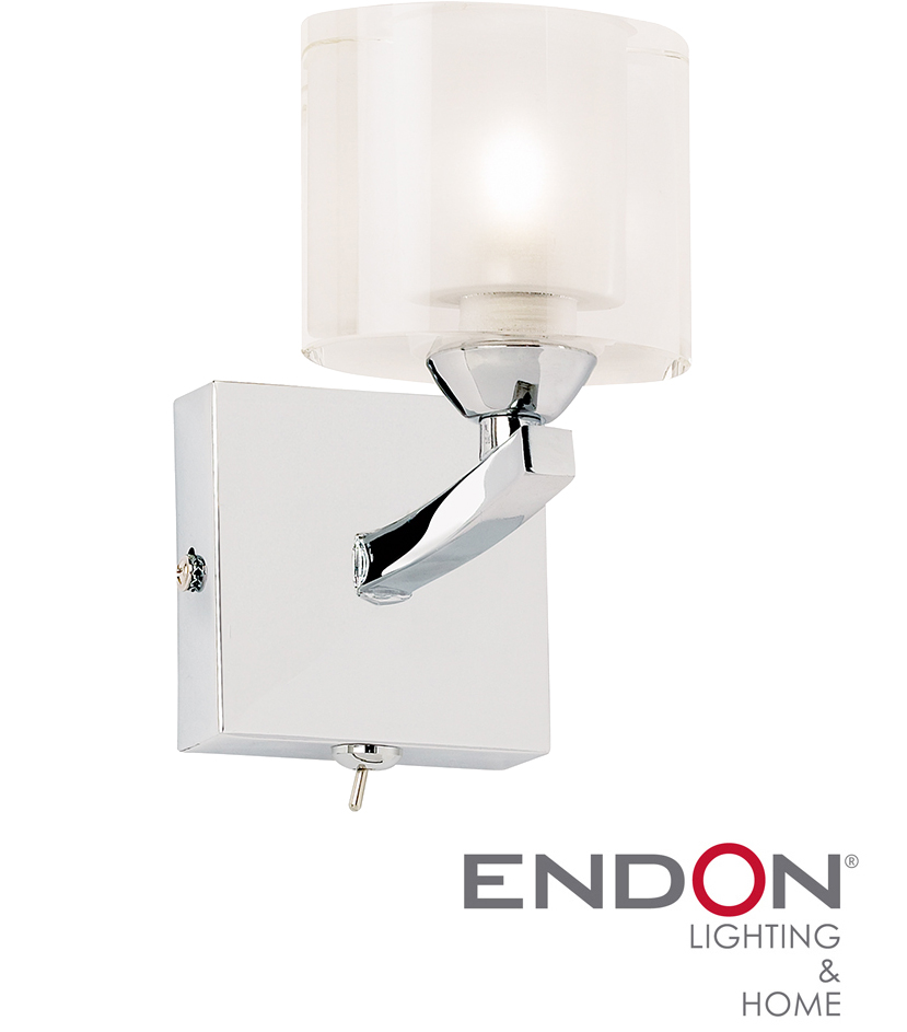 Endon Tiffany Wall Lights : ENDON SWITCHED WALL LIGHT OVAL GLASS, CHROME - 1722-1WBCH from Easy Lighting