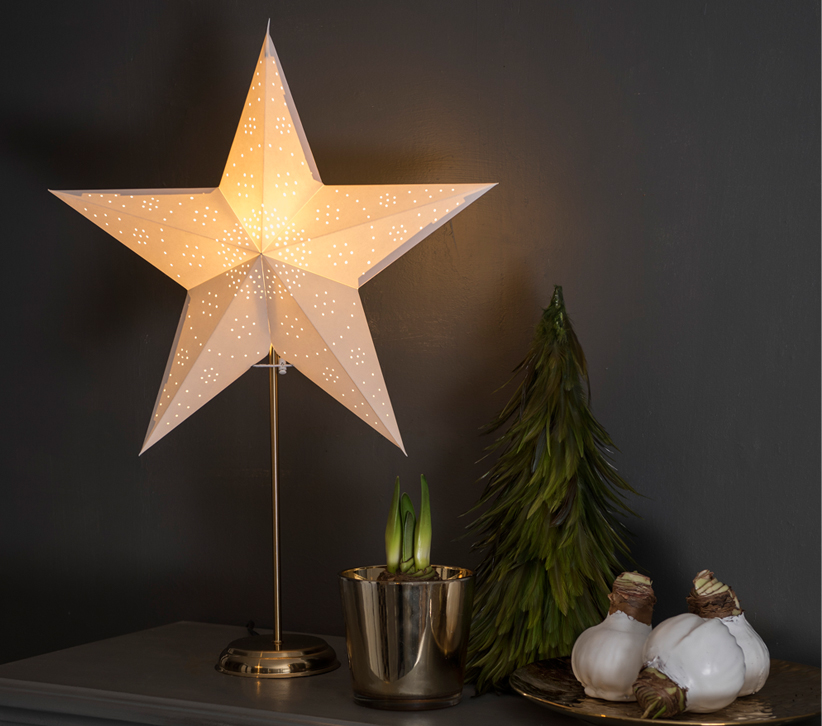 Konstsmide LED Standing 5 Point Paper Star, White With Brass Base - 1750-280 None