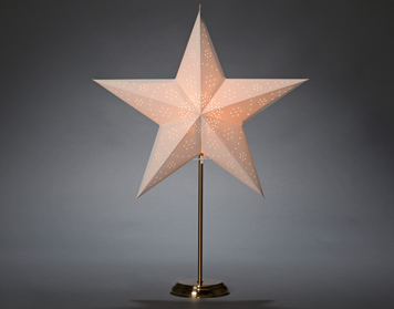 Konstsmide LED Standing 5 Point Paper Star, White With Brass Base - 1750-280