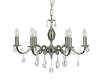 Oaks Lighting Premier Collection Risborough 6 Light Crystal Ceiling Light, Satin Nickel Finish - 176/6 SN