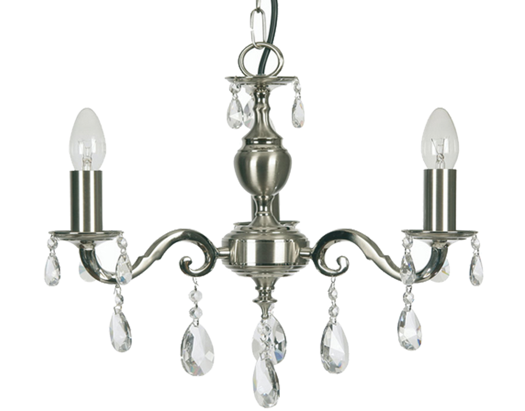 Oaks Lighting Premier Collection Risborough 3 Light Crystal Ceiling Light, Satin Nickel - 176/3 SN