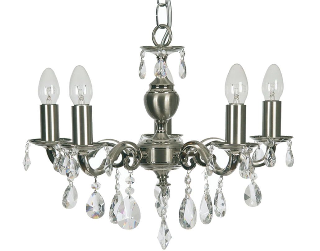 Oaks Lighting Premier Collection Risborough 5 Light Crystal Ceiling Light, Satin Nickel - 176/5 SN