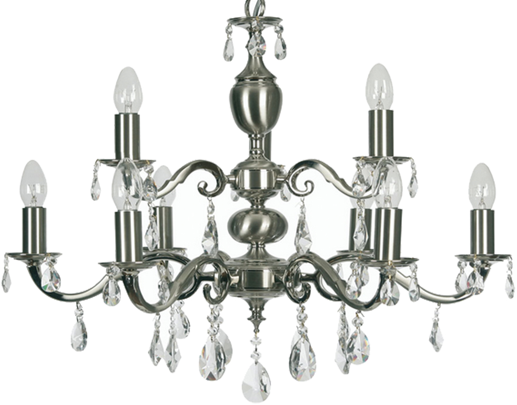 Oaks Lighting Premier Collection Risborough 9 Light Crystal Ceiling Light, Satin Nickel - 176/6+3 SN