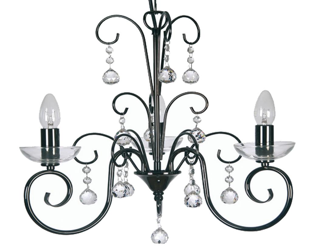 Oaks Lighting Atanea 3 Light Ceiling Mirror Black