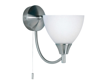Endon Alton 1 Light Switched Wall Light, Satin Chrome Finish With Matt Opal Glass - 1805-1SC