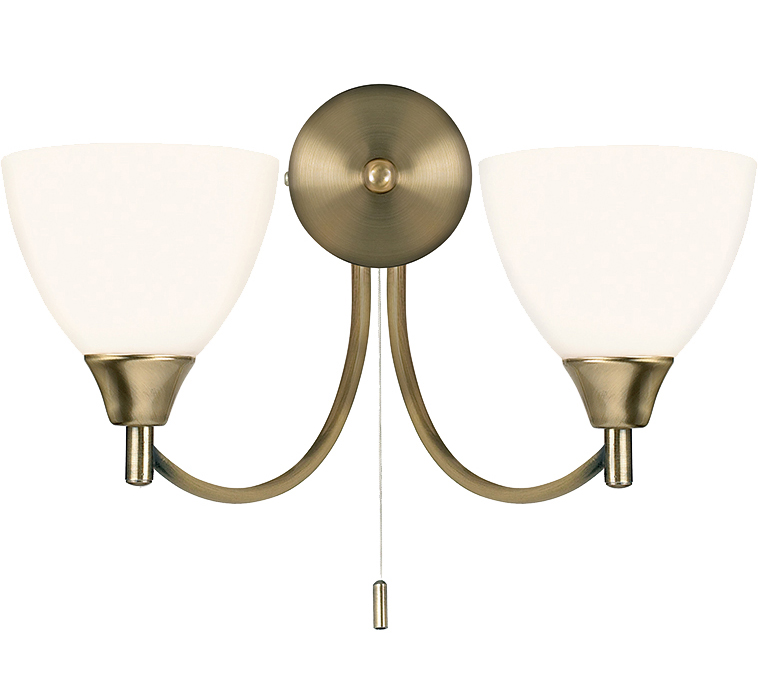 Endon Alton Switched Twin Wall Bracket With Matt Opal Glass, Antique Brass - 1805-2AN from ...