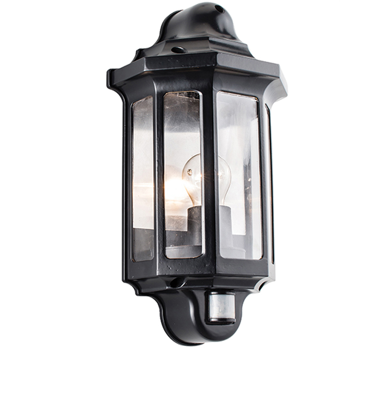 Endon Traditional PIR IP44 Half Lantern Outdoor Wall Light, Frosted & Black Polycarbonate ...