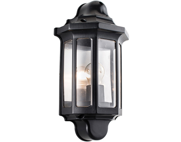 Endon Traditional Half Lantern, Satin Black Paint & Clear Polycarbonate - 1818S