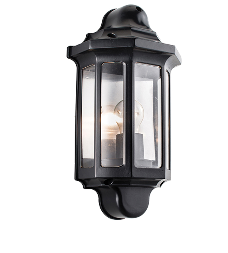 Half Lantern Wall Lights : Endon Traditional IP44 Half Lantern Outdoor Wall Light, Satin Black Paint & Clear ...
