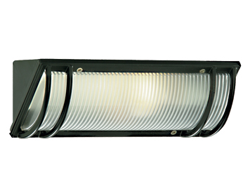 Searchlight 1 Light Outdoor Wall Light, Black Finish with Ribbed Diffuser - 1819BK