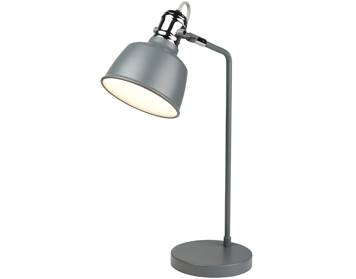 Searchlight Scandi 1 Light Table Lamp, Matt Grey Finish With Chrome Detail - 1853GY
