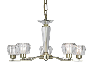 Oaks Lighting Vita 5 Light Crystal Cut Glass Ceiling Fitting, Antique Brass Finish - 1857/5 AB