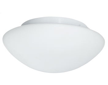 Searchlight 2 Light Flush Bathroom Ceiling Light, White Finish With Opal Glass Diffuser - 1910-28