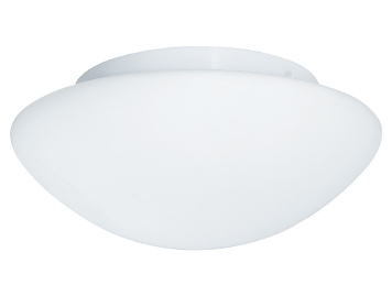 Searchlight 1 Light Flush Bathroom Ceiling Light, White Finish With Opal Glass Diffuser - 1910-23