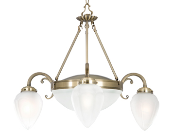 Searchlight Regency 5 Light Pendant Ceiling Light, Antique Brass finish With Petal Shaped Acid Glass Shades - 1995-5AB