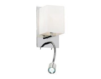 Endon Cava 1 Light Wall Light With Flexi LED Arm, Chrome Plate Finish With Opal Glass - 20010-WBCH