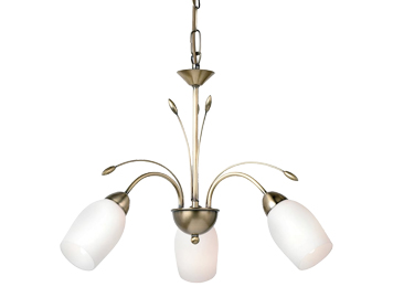 2 and 3 arm ceiling lights from easy lighting endon meadow 3 light ceiling pendant antique brass finish with white glass 2007 aloadofball Choice Image