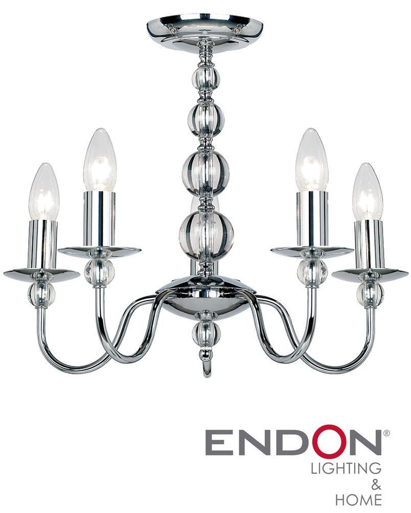 endon  u0026 39 parkstone u0026 39  ceiling fitting 5 light  polished chrome