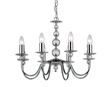 Endon Parkstone 8 Light Ceiling Pendant, Chrome Plate Finish With Clear Glass - 2013-8CH