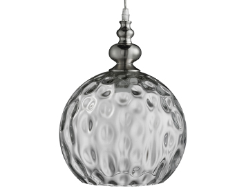 Searchlight Indiana 1 Light Globe Ceiling Pendant Light, Satin Silver Finish With Clear Dimpled Glass Shade - 2020CL