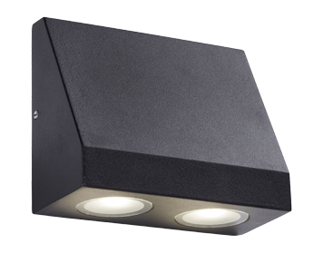 5db69d966e25 Searchlight 2 Light Outdoor LED Wall Light, Black Finish With Frosted Glass  - 2042-