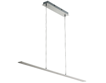 Searchlight LED Straight Bar Ceiling Pendant Light, Satin Silver With Clear Glass - 2065SS