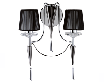 Searchlight Duchess 2 Light Wall Light, Chrome And Black Finish With Crystal Sconces - 2082-2CC