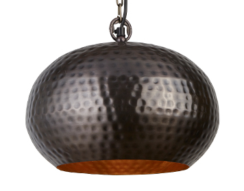 Searchlight Elipse (Small) 1 Light Pendant Ceiling Light, Antique Bronze Hammered Finish - 2094-32BZ