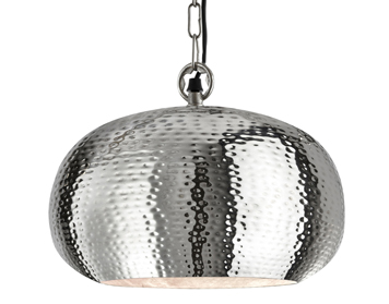 Searchlight Elipse (Small) 1 Light Pendant Ceiling Light, Shiny Nickel Hammered Finish - 2094-32CC