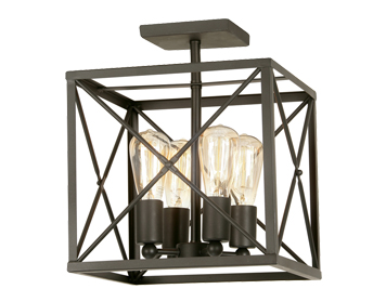 Oaks Lighting Farsund 4 Light Semi Flush Ceiling Light, Matt Black Finish - SALE-2136/4