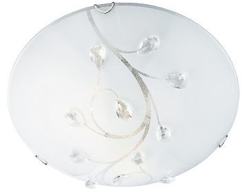 Searchlight 1 Light Small Flush Ceiling Light, Frosted Glass Shade With Clear Floral Bead Detail - 2140-30