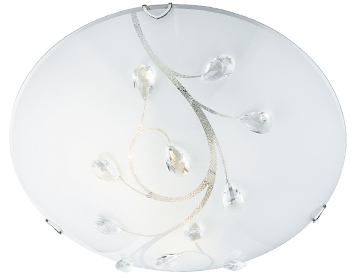 Searchlight 3 Light Large Flush Ceiling Light, Frosted Glass Shade With Clear Floral Bead Detail - 2140-40
