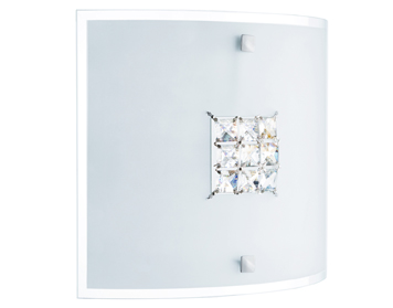 Searchlight Francesca 2 Light Flush Ceiling/Wall Light, Frosted Glass Shade with Asfour Crystal Centre - 2150-30