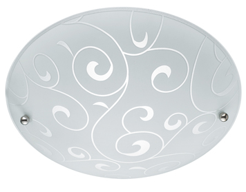 Searchlight 2 Light Flush Ceiling Light, White Finish With Frosted Glass Shade - 2165-30