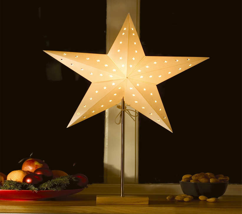 Konstsmide LED Standing 5 Point Paper Star, White With Oak Base - 2169-201 None