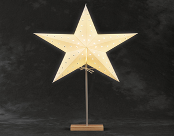 Konstsmide LED Standing 5 Point Paper Star, White With Oak Base - 2169-201