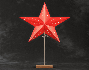 Konstsmide LED Standing 5 Point Paper Star, Red With Oak Base - 2169-501