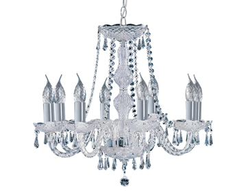 Searchlight Hale 8 Light Chandelier, Chrome With Crystal Trimmings - 218-8