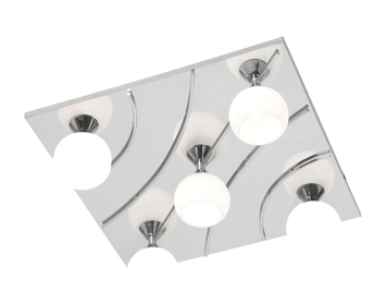 Oaks Lighting Manzano 5 Light Flush Ceiling Light, Chrome Finish - 2181/5 SQ CH