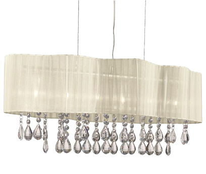 Searchlight Pleated 6 Light Ceiling Pendant Light, Chrome With Cream Shade - 2226-6CR